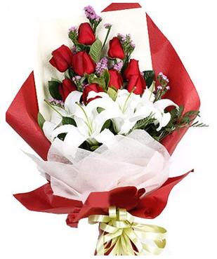 Manisa online çiçekçi , çiçek siparişi  1 dal kazablankaa 9 adet kırmızı gül buketi
