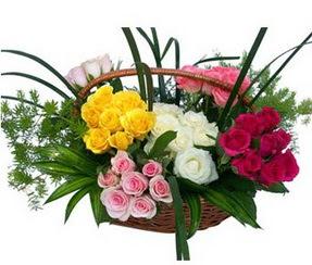 Manisa çiçek servisi , çiçekçi adresleri  35 adet rengarenk güllerden sepet tanzimi
