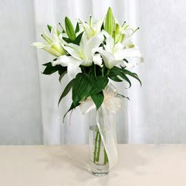 Manisa çiçek , çiçekçi , çiçekçilik  2 dal kazablanka ile yapılmış vazo çiçeği