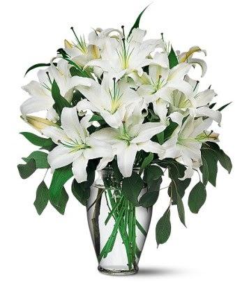 Manisa yurtiçi ve yurtdışı çiçek siparişi  4 dal kazablanka ile görsel vazo tanzimi