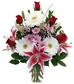 Manisa çiçek siparişi sitesi  1 dal kazablanka 5 gül ve kırçiçeği vazosu