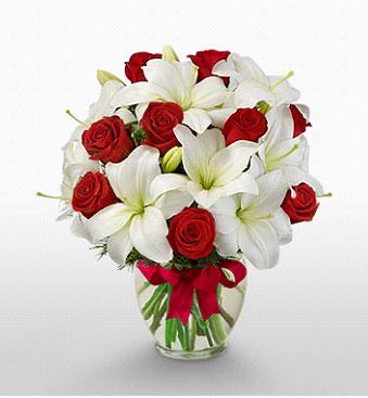 Manisa çiçek mağazası , çiçekçi adresleri  1 dal kazablanka 11 adet kırmızı gül vazosu
