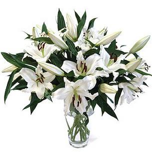 Manisa anneler günü çiçek yolla  3 dal görsel casablanca vazo tanzimi