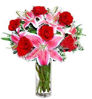 Manisa uluslararası çiçek gönderme  1 dal cazablanca ve 6 kırmızı gül çiçeği