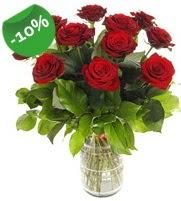 11 adet vazo içerisinde kırmızı gül  Manisa çiçek gönderme sitemiz güvenlidir