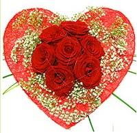 Mika kalp içerisinde 7 adet kırmızı gül  Manisa kaliteli taze ve ucuz çiçekler