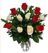 Vazo içerisinde 6 kırmızı 6 beyaz gül  Manisa çiçek mağazası , çiçekçi adresleri
