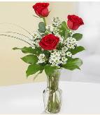 Vazo içerisinde 3 adet kırmızı gül  Manisa hediye sevgilime hediye çiçek