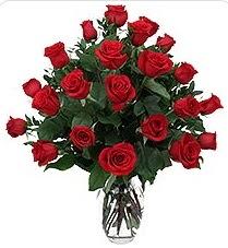 Manisa güvenli kaliteli hızlı çiçek  24 adet kırmızı gülden vazo tanzimi