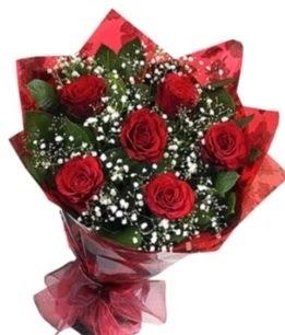 6 adet kırmızı gülden buket  Manisa internetten çiçek siparişi
