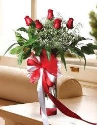 Camda 5 kırmızı gül tanzimi  Manisa anneler günü çiçek yolla
