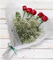 5 kırmızı gülden sade buket  Manisa uluslararası çiçek gönderme
