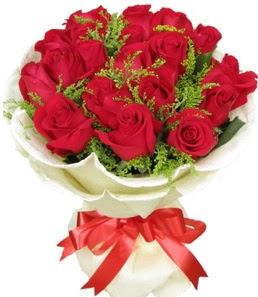19 adet kırmızı gülden buket tanzimi  Manisa çiçekçi mağazası