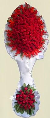 Çift katlı kıpkırmızı düğün açılış çiçeği  Manisa çiçek , çiçekçi , çiçekçilik