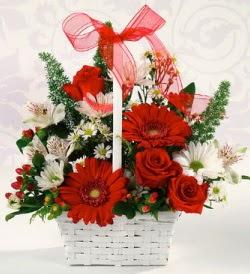 Karışık rengarenk mevsim çiçek sepeti  Manisa çiçek yolla , çiçek gönder , çiçekçi
