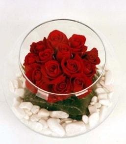 Cam fanusta 11 adet kırmızı gül  Manisa 14 şubat sevgililer günü çiçek
