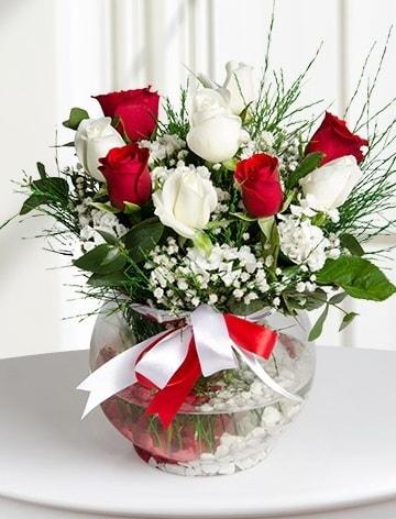 Aşk Küresi  5 beyaz 5 kırmızı gül fanusta  Manisa yurtiçi ve yurtdışı çiçek siparişi
