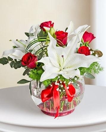 Fanus Vazoda 2 Lilyum ve 5 Gül Dansı  Manisa 14 şubat sevgililer günü çiçek