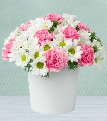 Seramik vazoda papatya ve kır çiçekleri  Manisa güvenli kaliteli hızlı çiçek