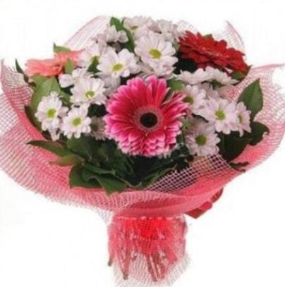 Gerbera ve kır çiçekleri buketi  Manisa çiçek yolla , çiçek gönder , çiçekçi
