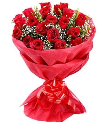 21 adet kırmızı gülden modern buket  Manisa 14 şubat sevgililer günü çiçek