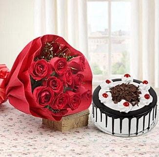 12 adet kırmızı gül 4 kişilik yaş pasta  Manisa çiçek online çiçek siparişi