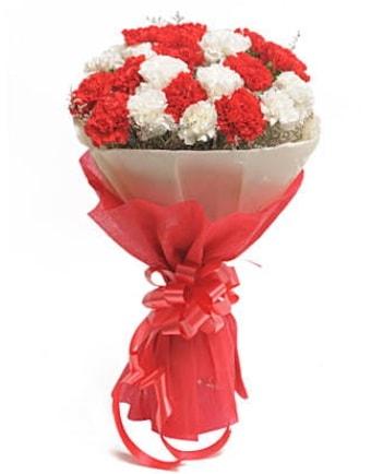 21 adet kırmızı beyaz karanfil buketi  Manisa hediye sevgilime hediye çiçek