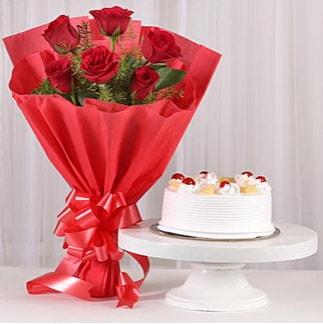 6 Kırmızı gül ve 4 kişilik yaş pasta  Manisa çiçek online çiçek siparişi