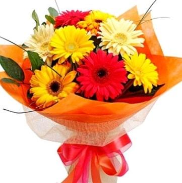 9 adet karışık gerbera buketi  Manisa çiçek online çiçek siparişi
