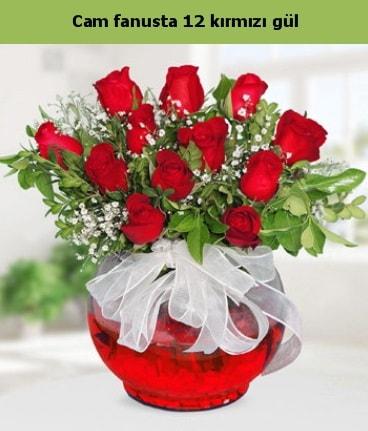 Cam içerisinde 12 adet kırmızı gül  Manisa yurtiçi ve yurtdışı çiçek siparişi