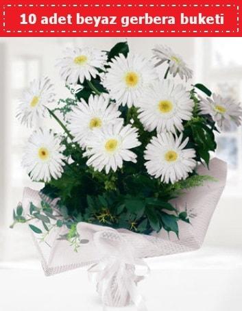 10 Adet beyaz gerbera buketi  Manisa çiçek online çiçek siparişi