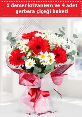 Krizantem ve Gerbera Buketi  Manisa güvenli kaliteli hızlı çiçek