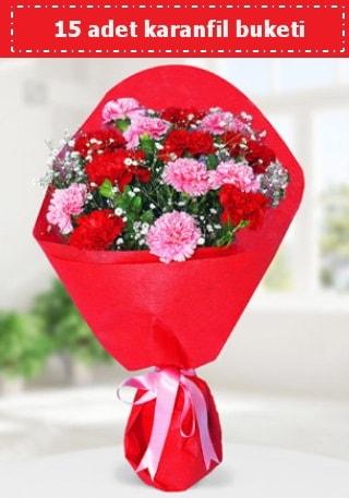 15 adet karanfilden hazırlanmış buket  Manisa çiçek gönderme