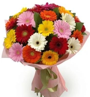 Karışık büyük boy gerbera çiçek buketi  Manisa hediye sevgilime hediye çiçek